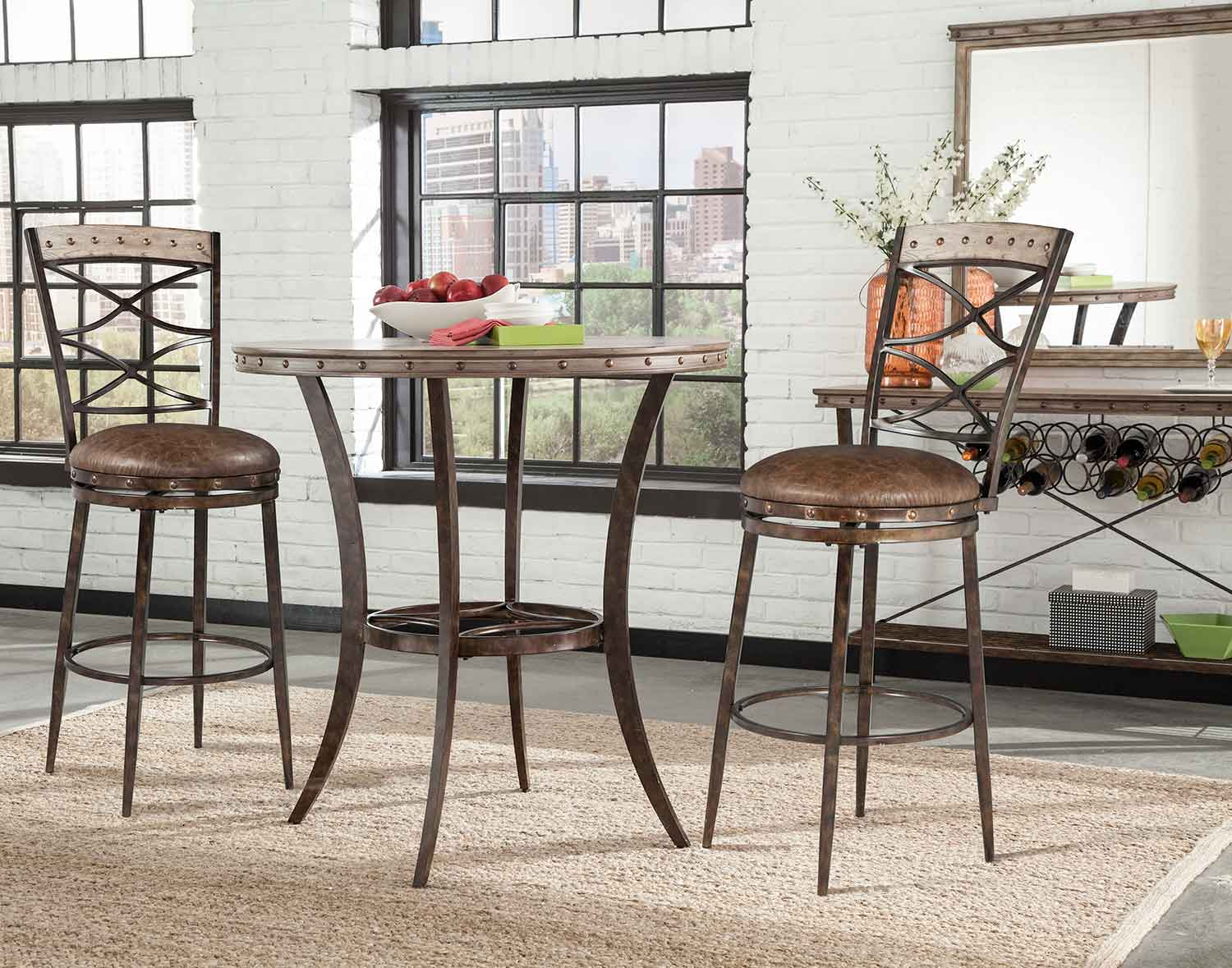 Hillsdale Emmons 3-Piece Bar Height Bistro Dining Set - Washed Gray