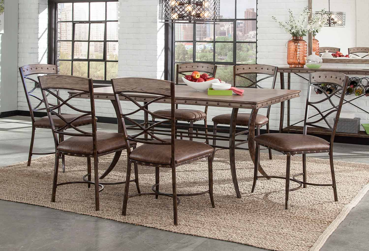 Hillsdale Emmons 7-Piece Rectangle Dining Set - Washed Gray