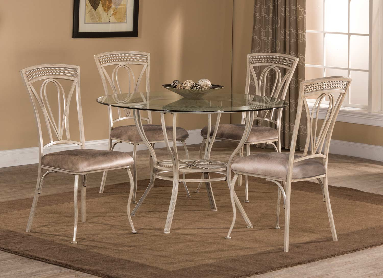 Hillsdale napier 5 piece round dining table set aged ivory 5986dtbs5 hillsdalefurnituremart com