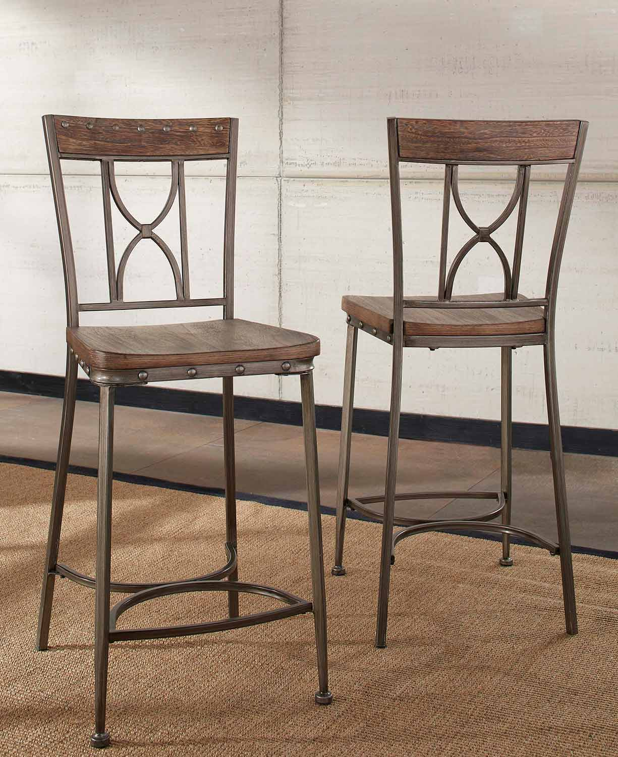 Hillsdale Paddock Non-Swivel Counter Height Stool - Brushed Steel Metal/Distressed Brown