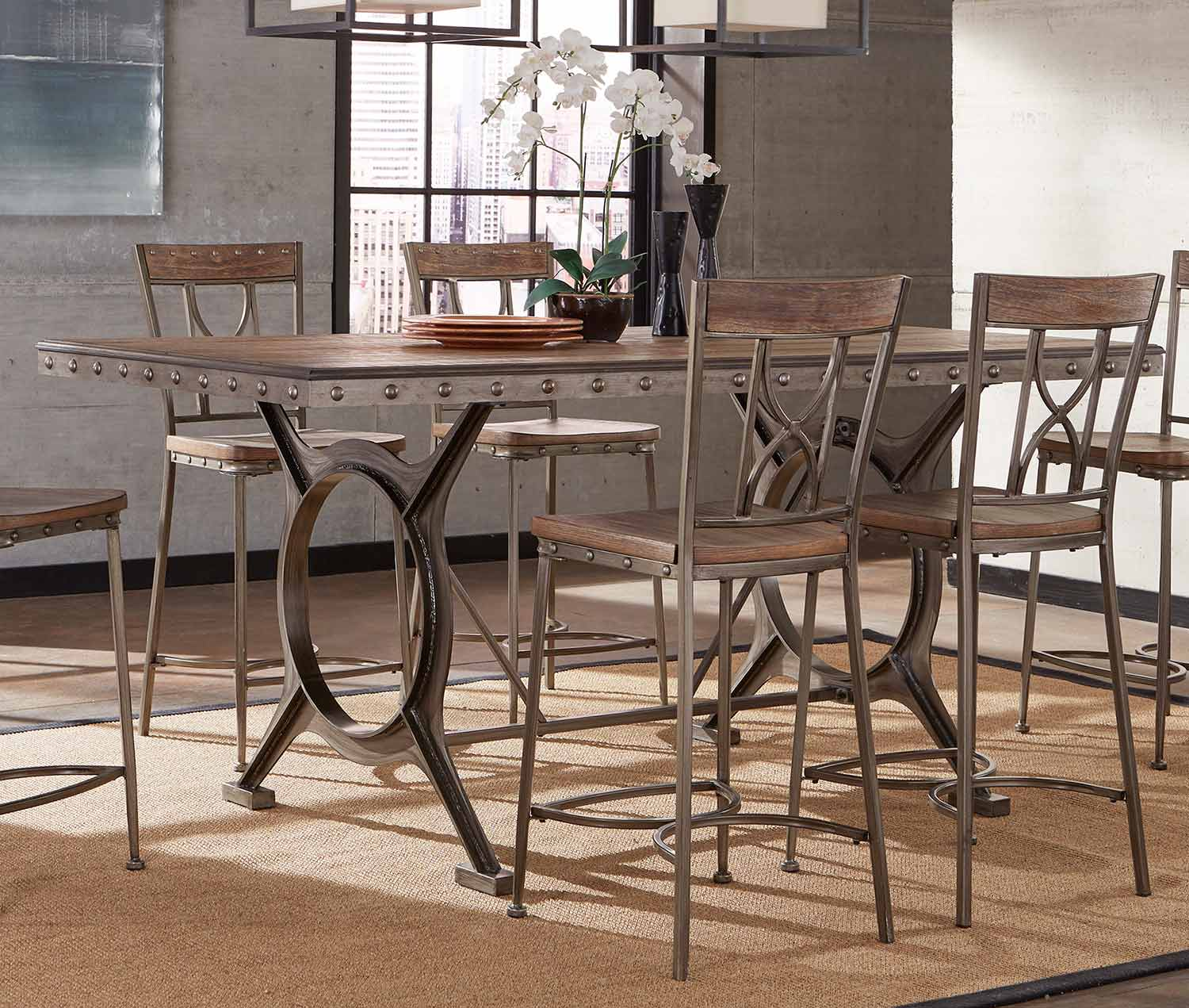 Hillsdale Paddock 5-Piece Counter Height Dining Set - Brushed Steel Metal/Distressed Brown