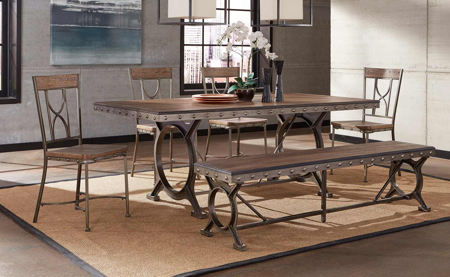 Hillsdale Paddock 6 Piece Rectangle Dining Set   Brushed Steel  Metal/Distressed Brown