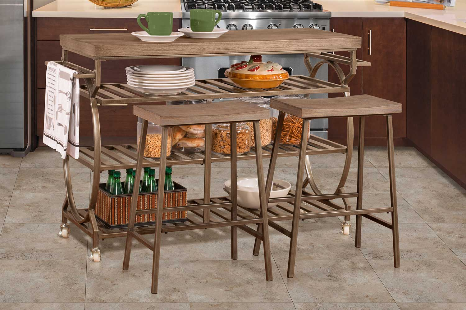 Hillsdale Paddock 3 Piece Kitchen Cart Set with 2 Kennon Stools - Steel Metal/Brown-Gray