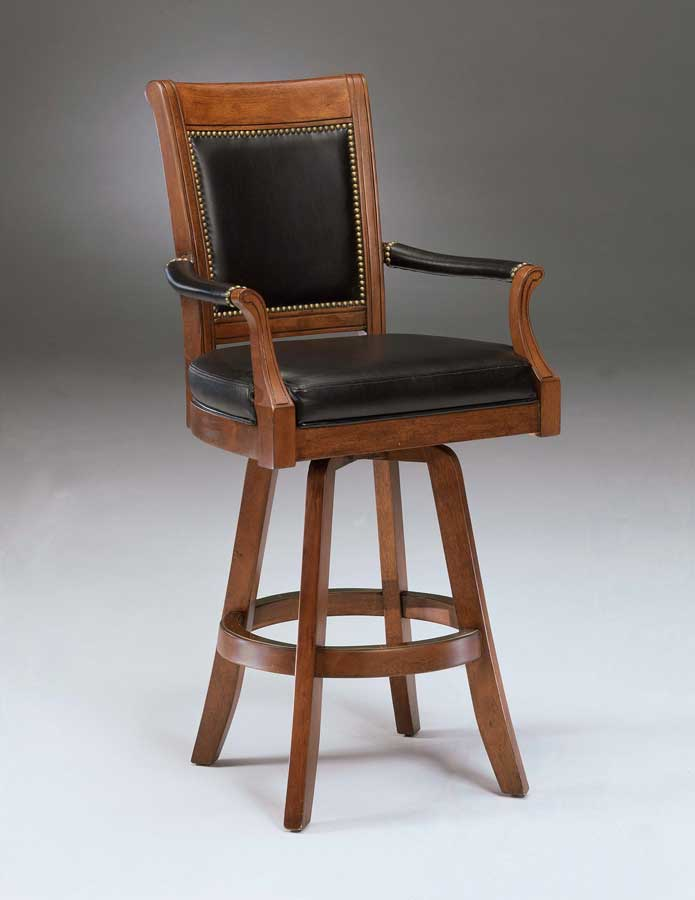 Hillsdale Kingston Swivel Game Leather Back Bar Stool