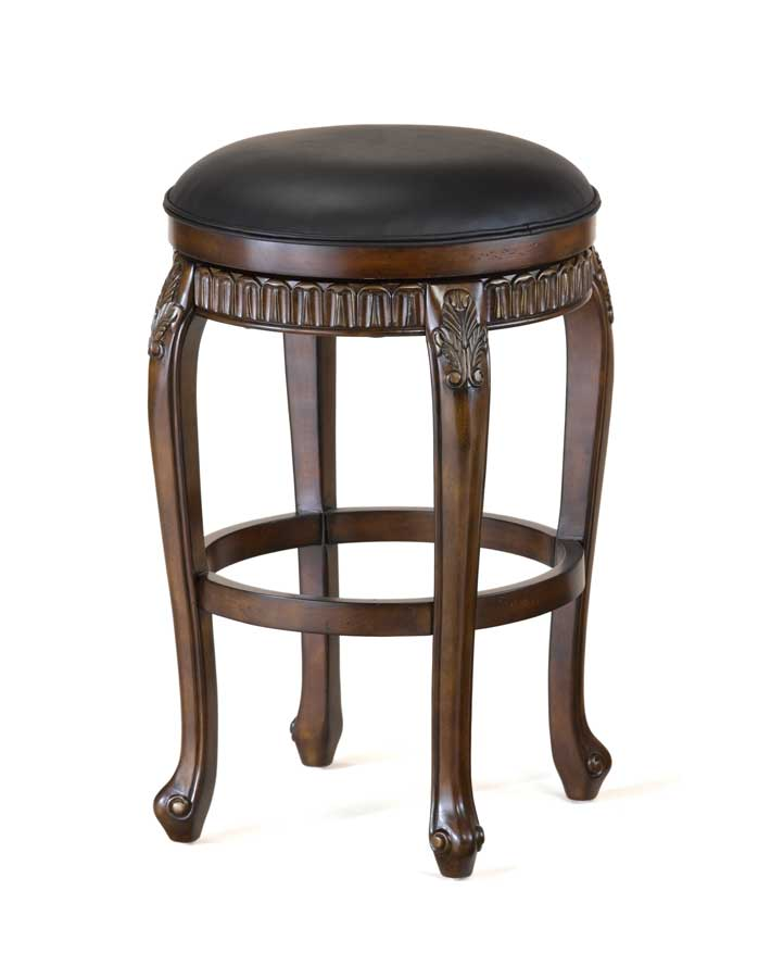 Hilale Fleur De Lis Swivel Wood Bar Stool Backless