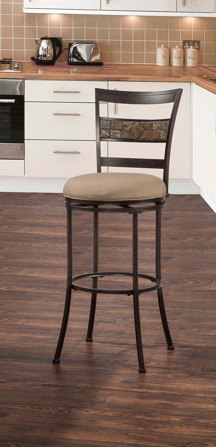 Hillsdale Henning Indoor/Outdoor Swivel Counter Stool - Midnight Mocha