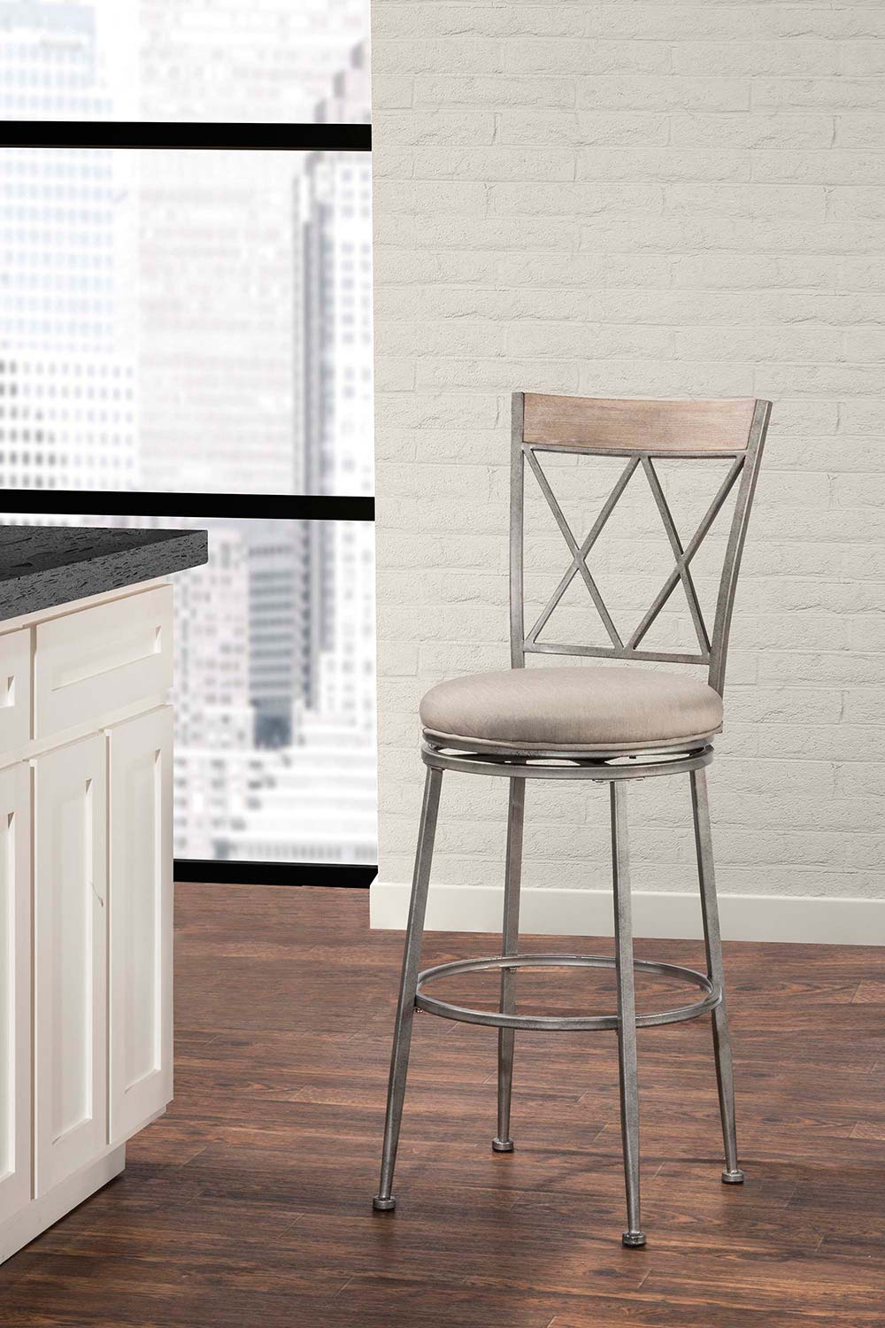 Hillsdale Stewart Indoor/Outdoor Swivel Bar Stool - Aged Pewter
