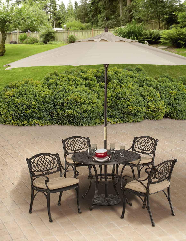 Hillsdale Esterton Indoor/Outdoor 5 Piece Round Dining Set   Black/Gold