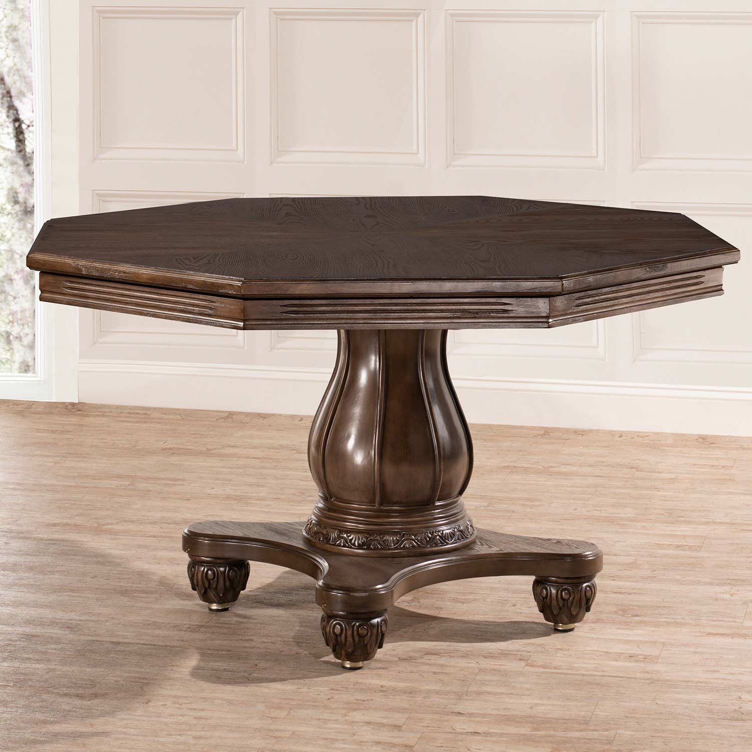 Hillsdale Kingston Freeport Wood Octagonal Table - Weathered Walnut