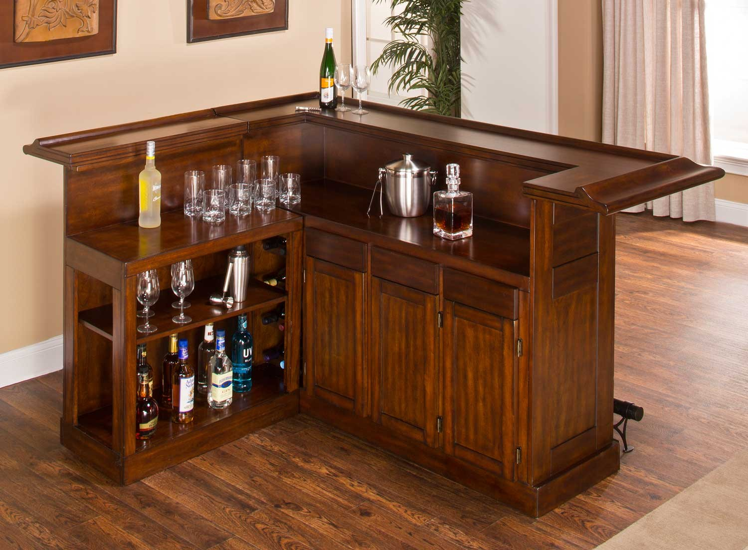 Hillsdale Classic Large Brown Cherry Bar with Side Bar - Brown Cherry