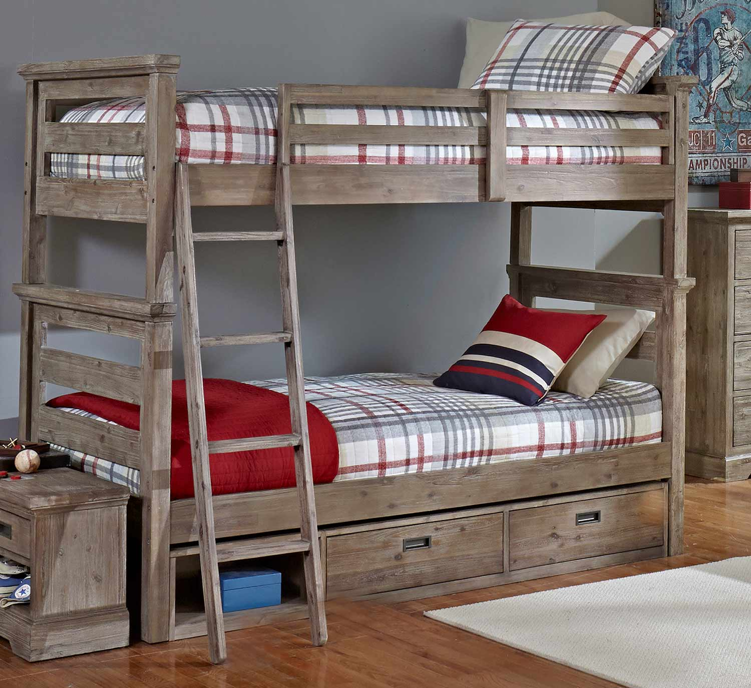 NE Kids Oxford Oliver Twin Over Twin Bunk Bed With Storage - Cocoa