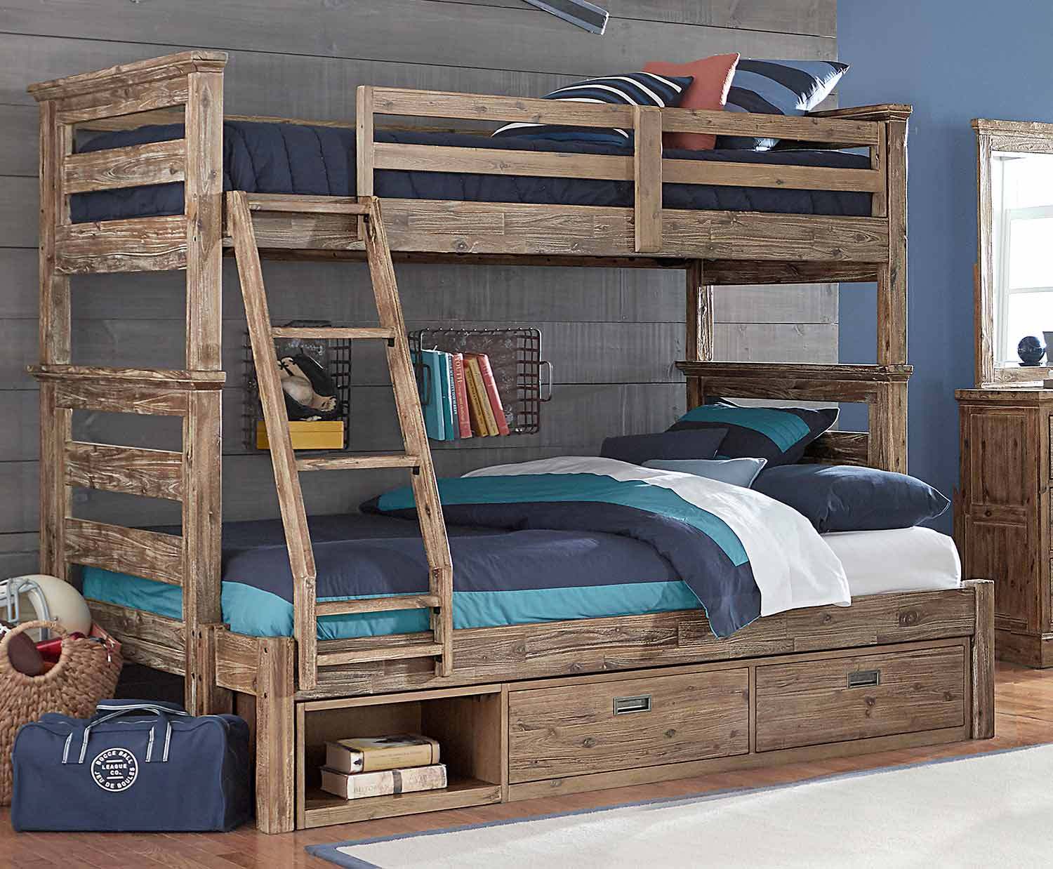 NE Kids Oxford Oliver Twin Over Full Bunk Bed With Storage - Cocoa
