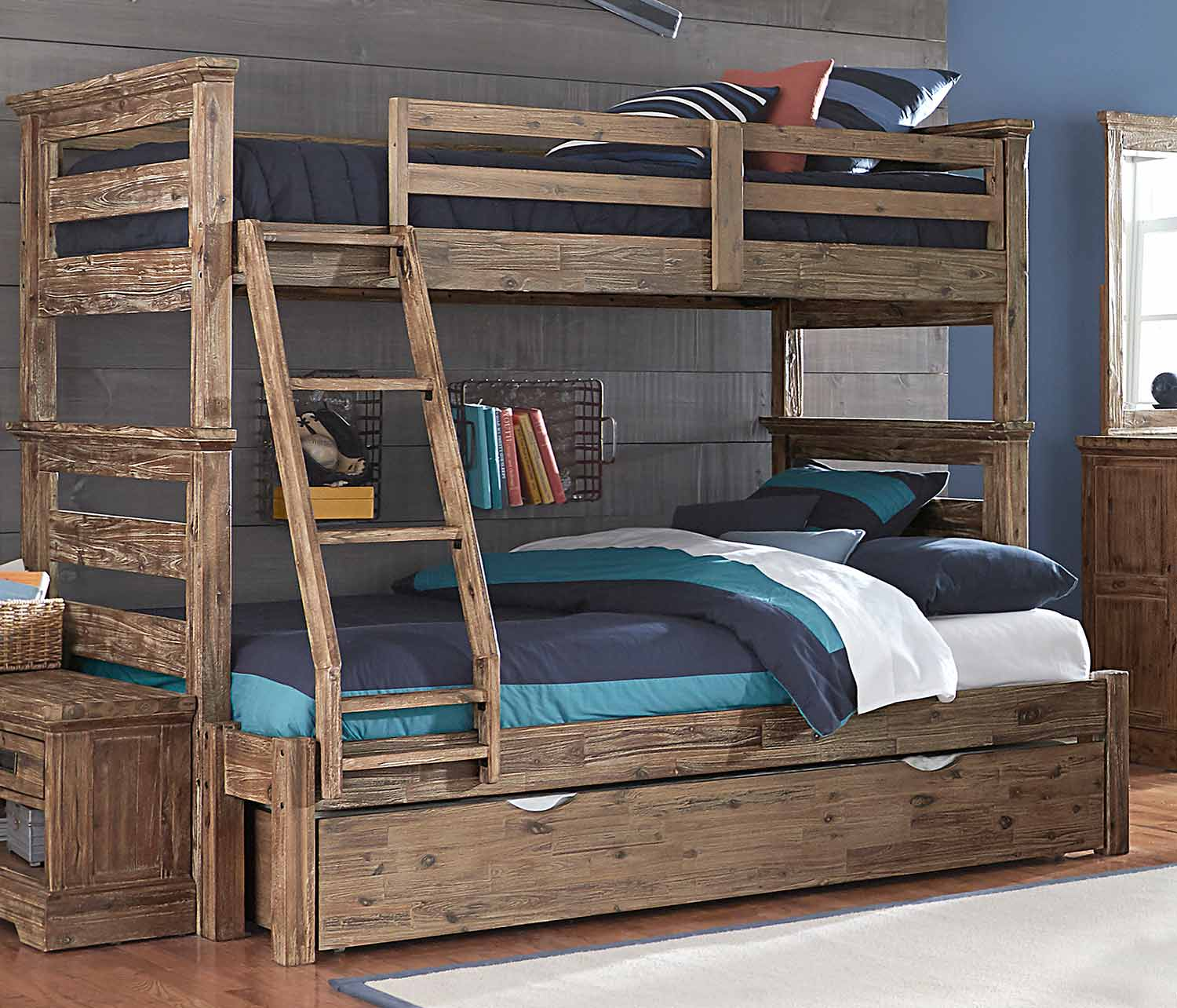 NE Kids Oxford Oliver Twin Over Full Bunk Bed With Trundle - Cocoa