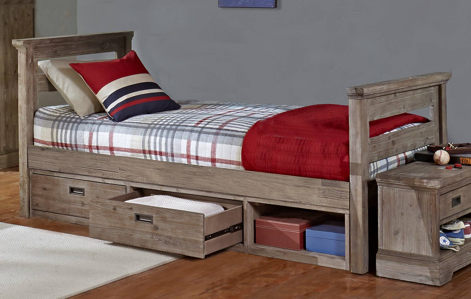 NE Kids Oxford Oliver Twin Bed With Storage - Cocoa