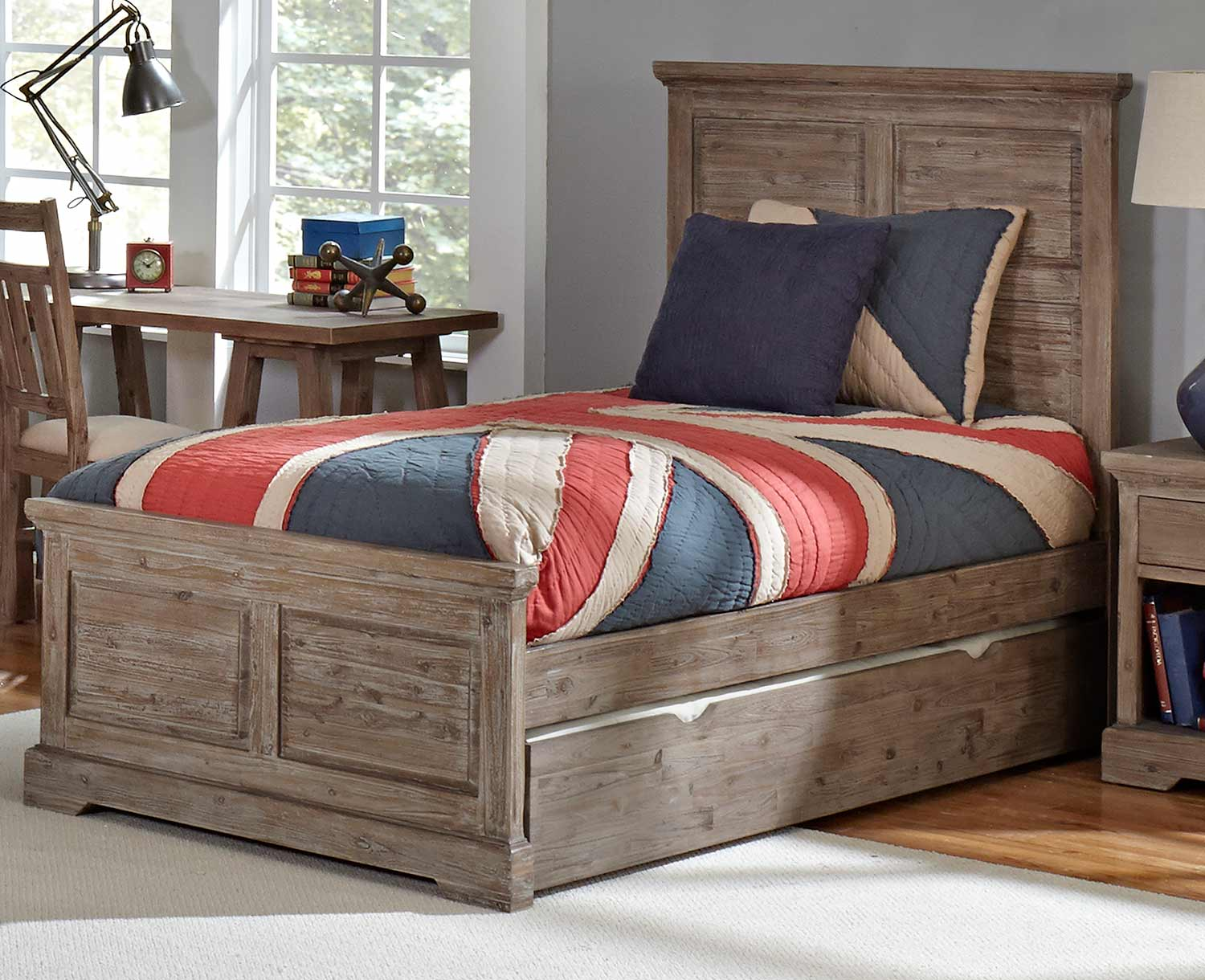 NE Kids Oxford William Panel Bed With Trundle - Cocoa