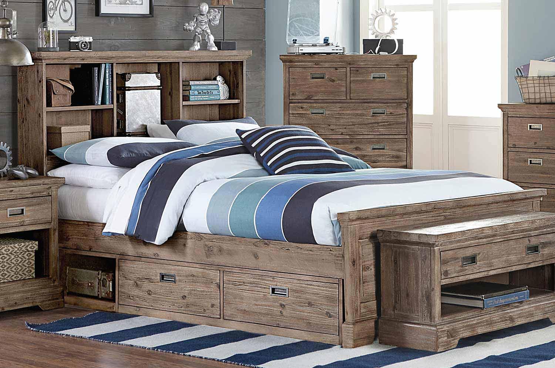 NE Kids Oxford Bookcase Bed With Storage - Cocoa