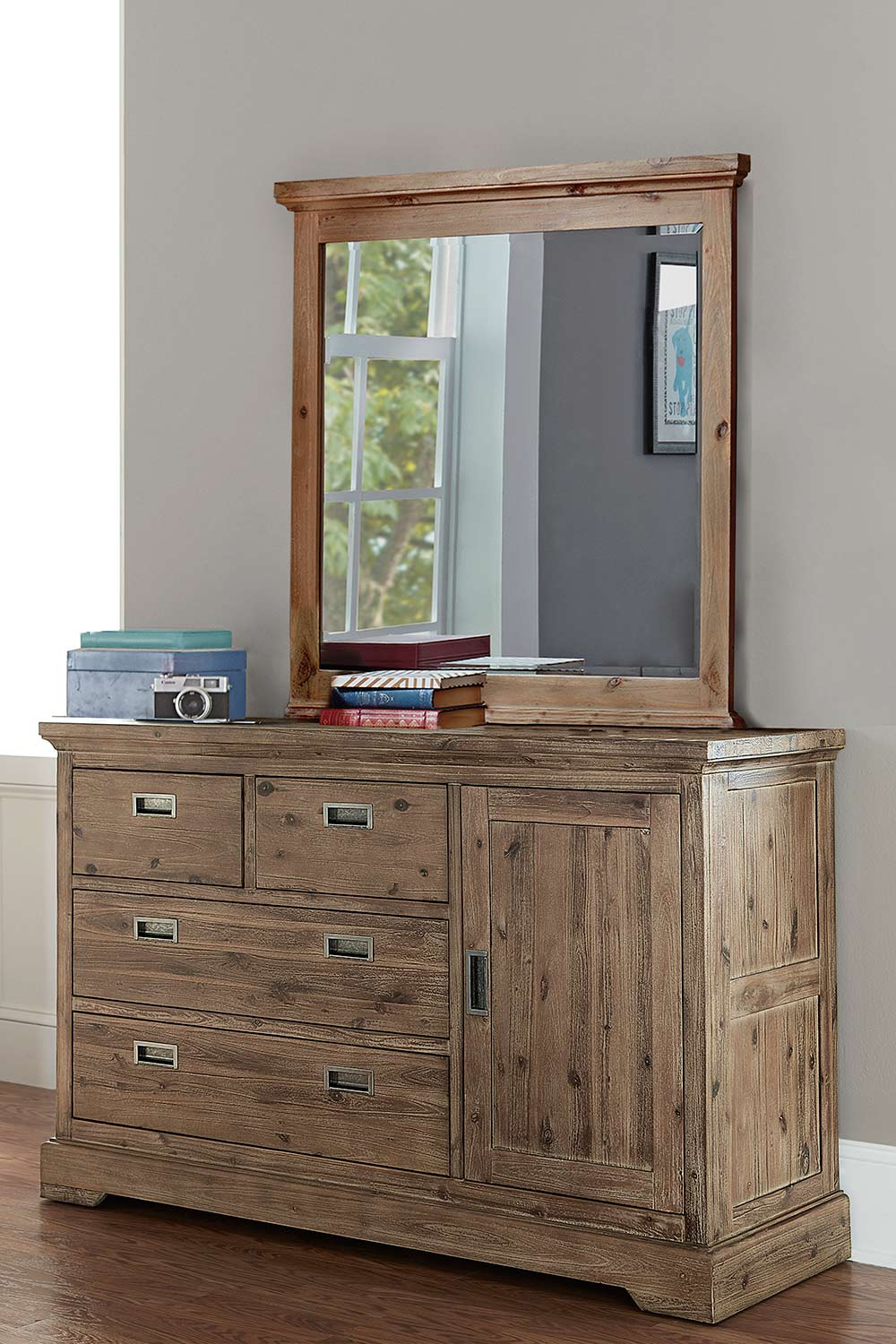 NE Kids Oxford 4 Drawer Dresser with Door and Mirror - Cocoa