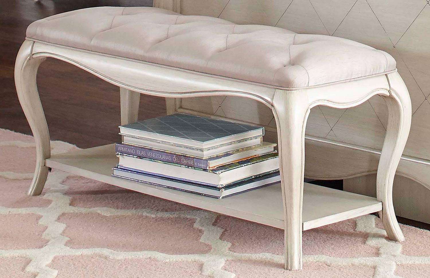 NE Kids Angela Bed Bench With Tufted Top - Opal Grey