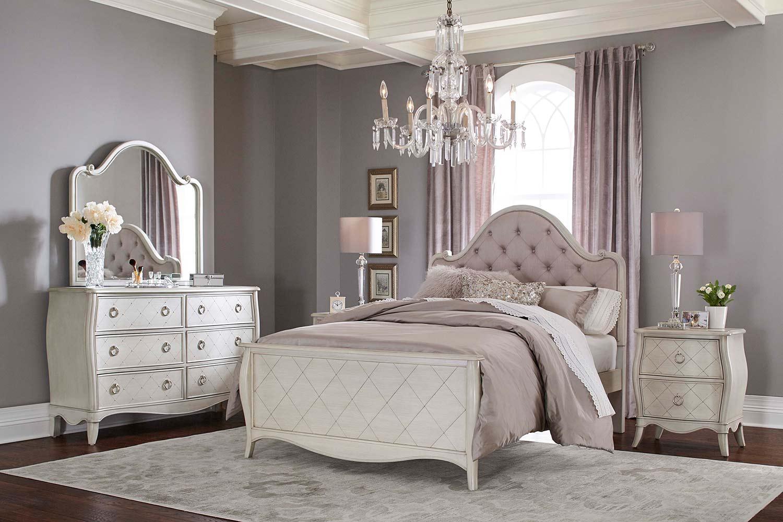 NE Kids Angela Arc Upholstered Bedroom Set - Opal Grey