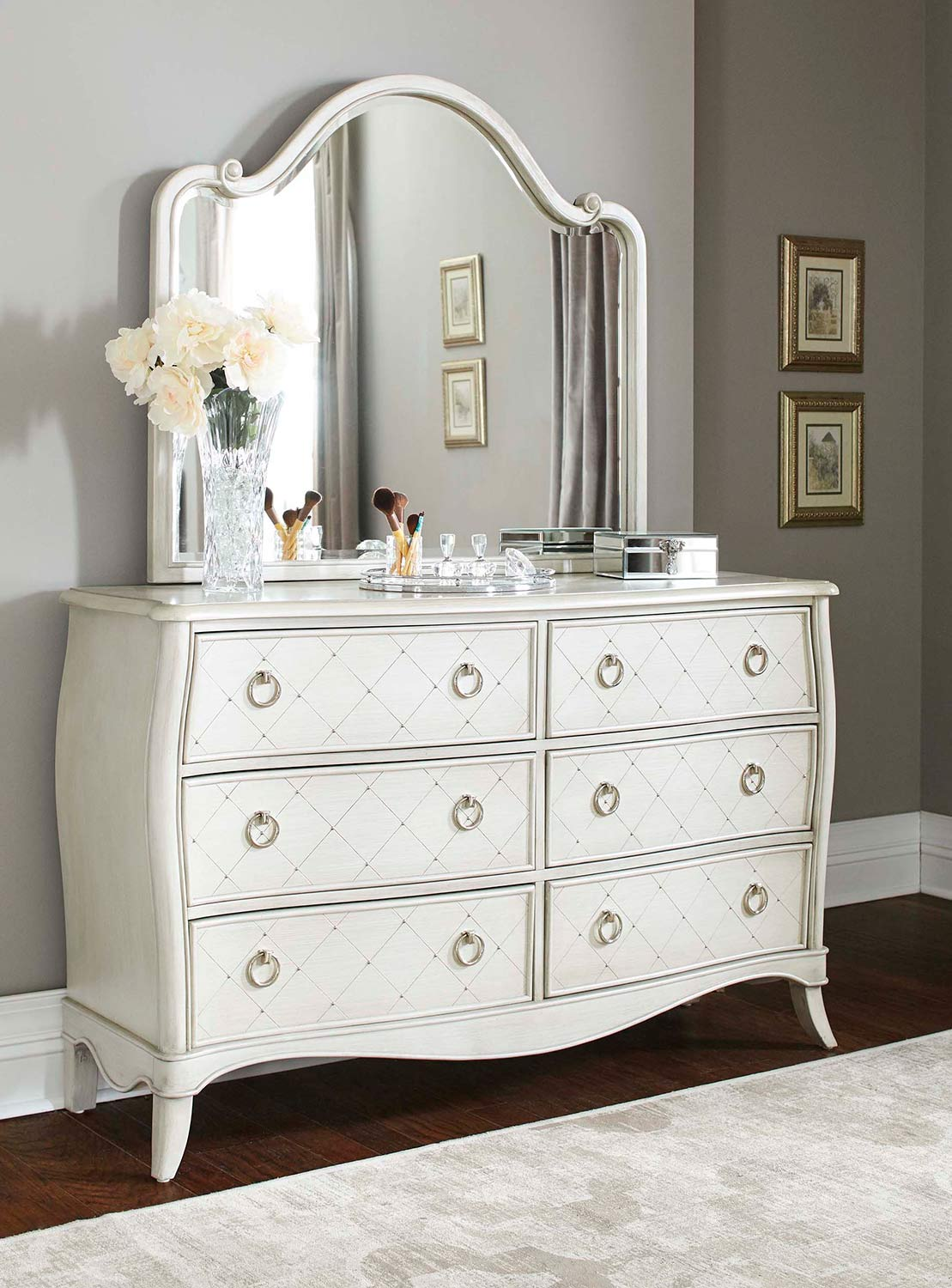 NE Kids Angela 6 Drawer Dresser With Wood Arc Mirror - Opal Grey