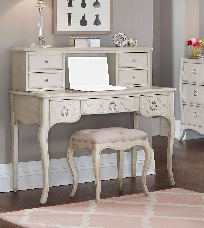 NE Kids Angela Desk With Hutch And Stool - Opal Grey