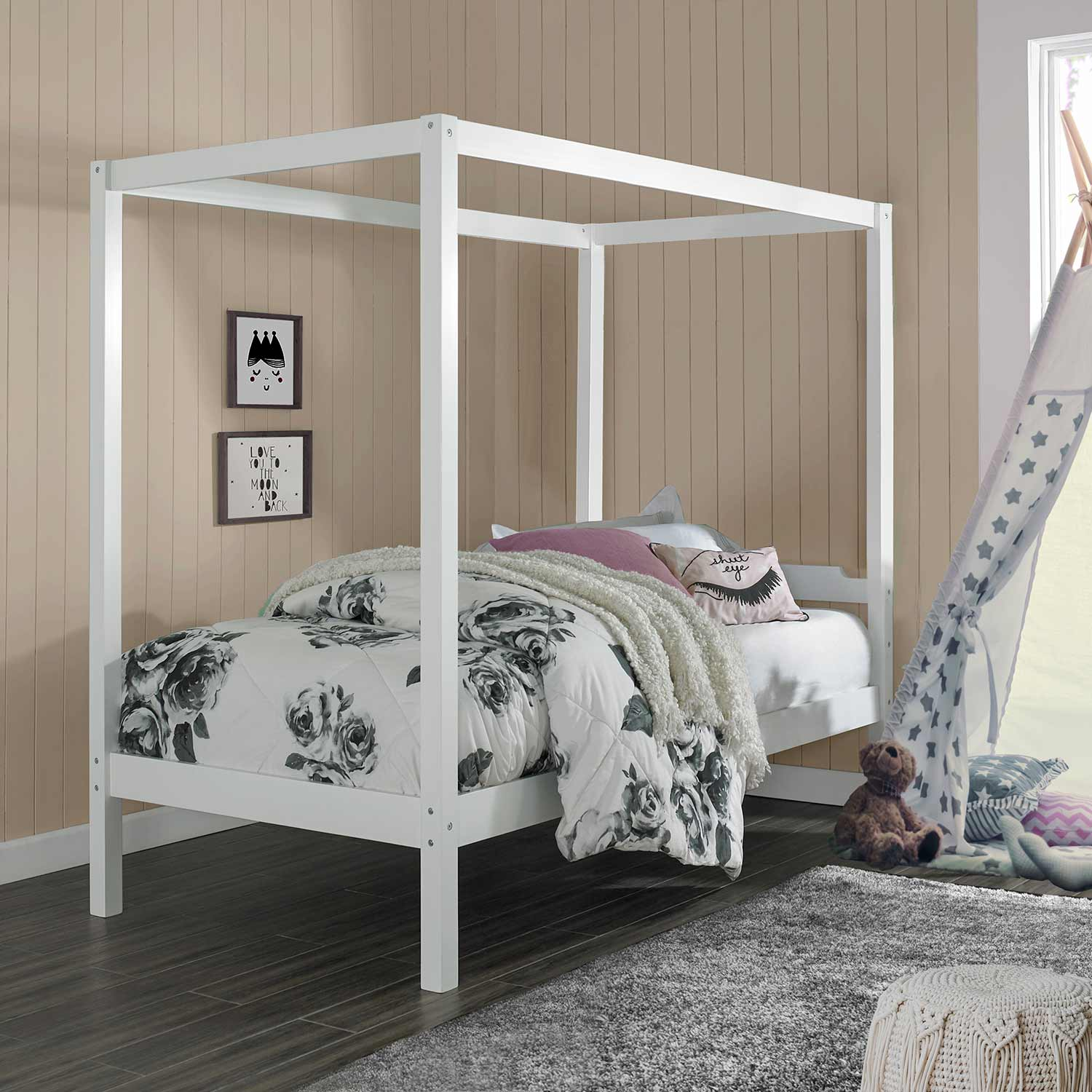 - Hillsdale Sutton Wood Canopy Twin Bed - White 7159-300