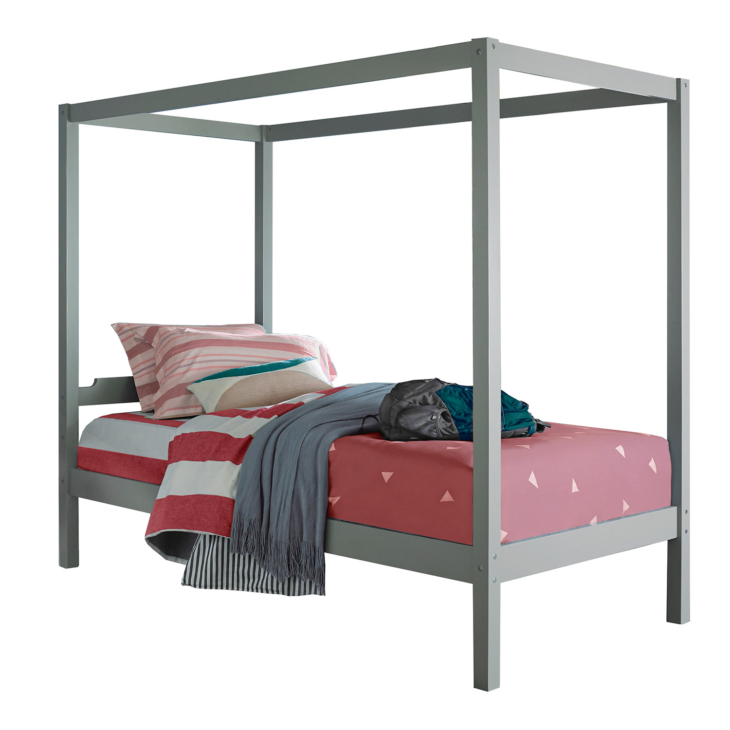 Hillsdale Sutton Wood Canopy Twin Bed - Gray