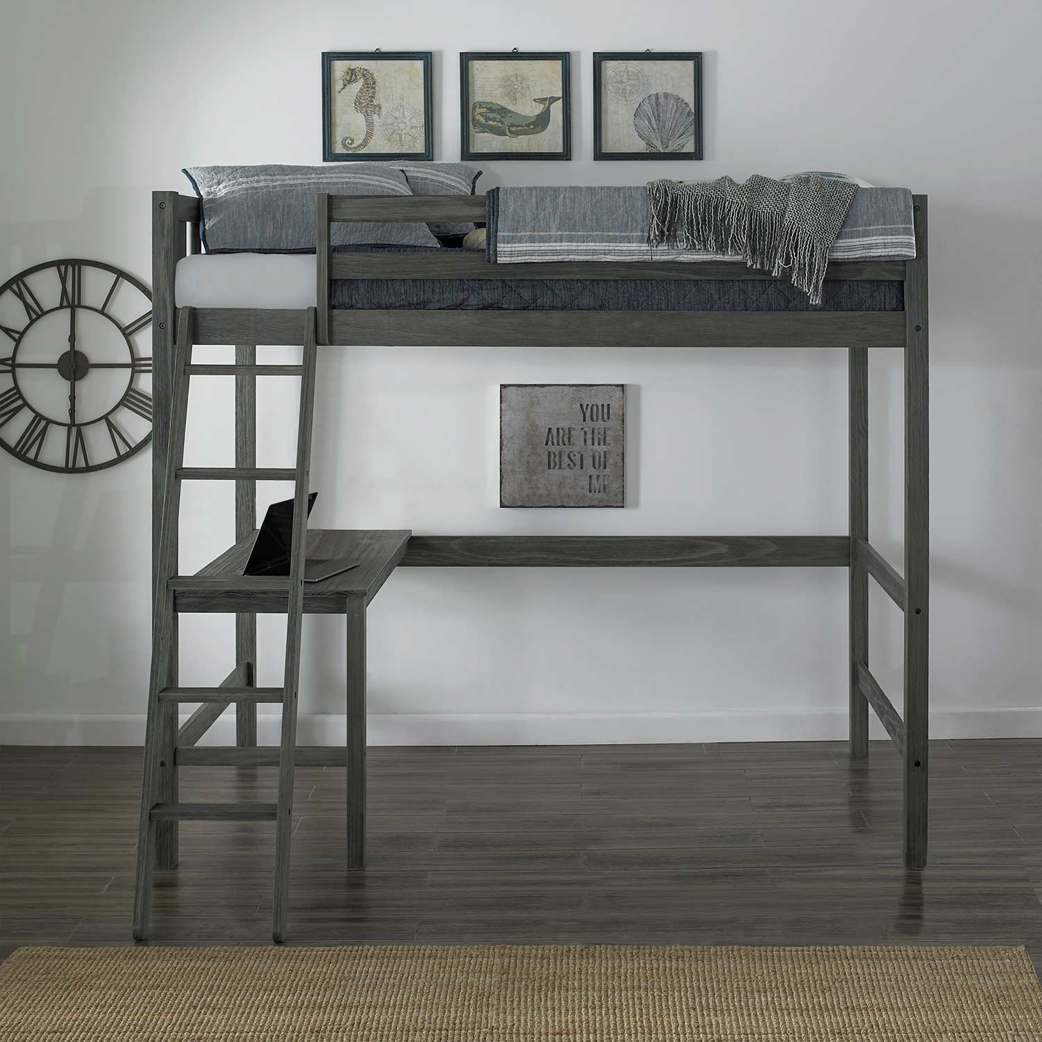Picture of: Hillsdale Crosswinds Complete Twin Loft Bed Wirebrush Gray 7161 320 Hillsdalefurnituremart Com