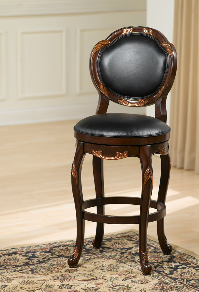 Hillsdale Alaina Swivel Bar Stool - Distressed Cherry/Copper Highlights