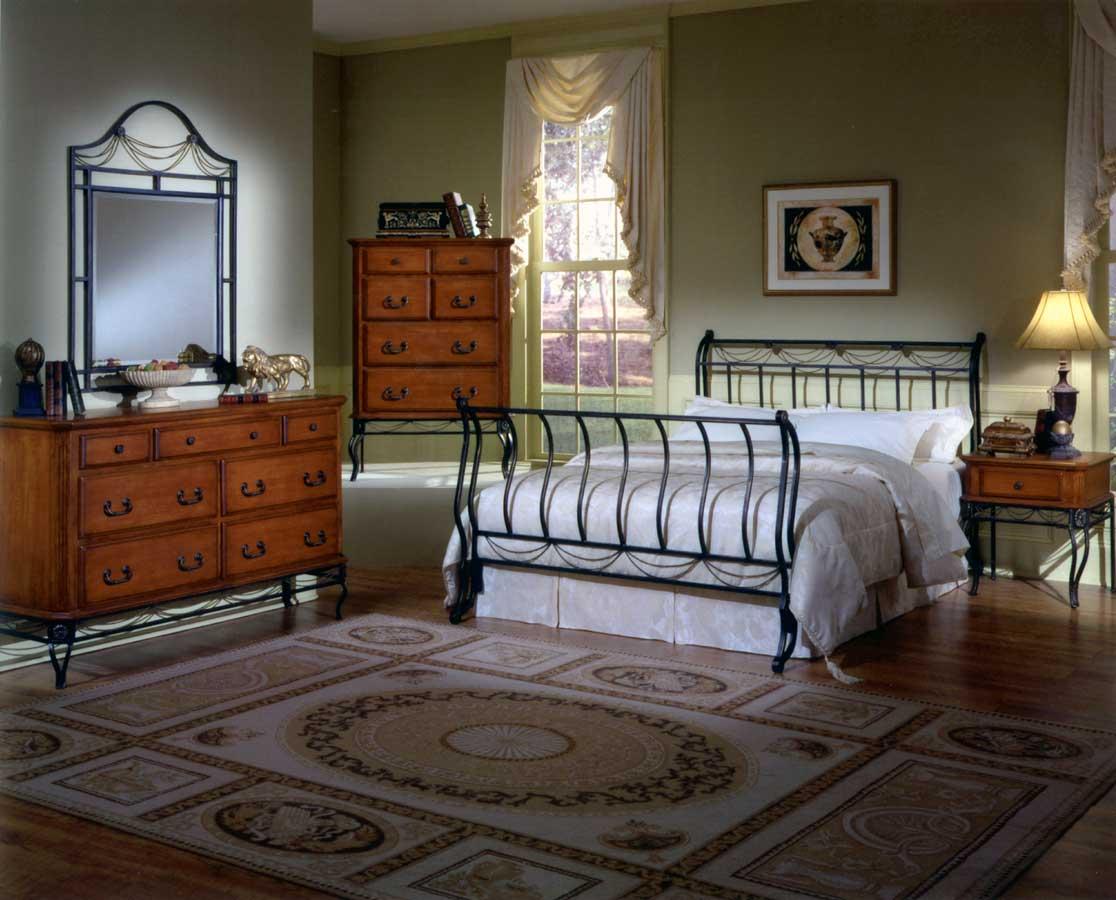 Hillsdale camelot metal bedroom collection with cherry for Metal bedroom furniture