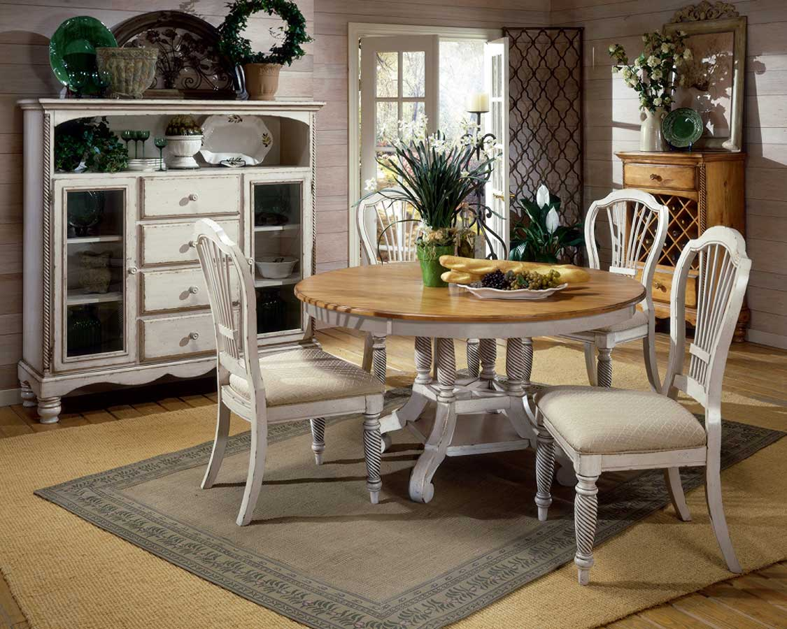 Hillsdale Wilshire Round Oval Dining Table Antique White 4508 816 817 HillsdaleFurnitureMartcom