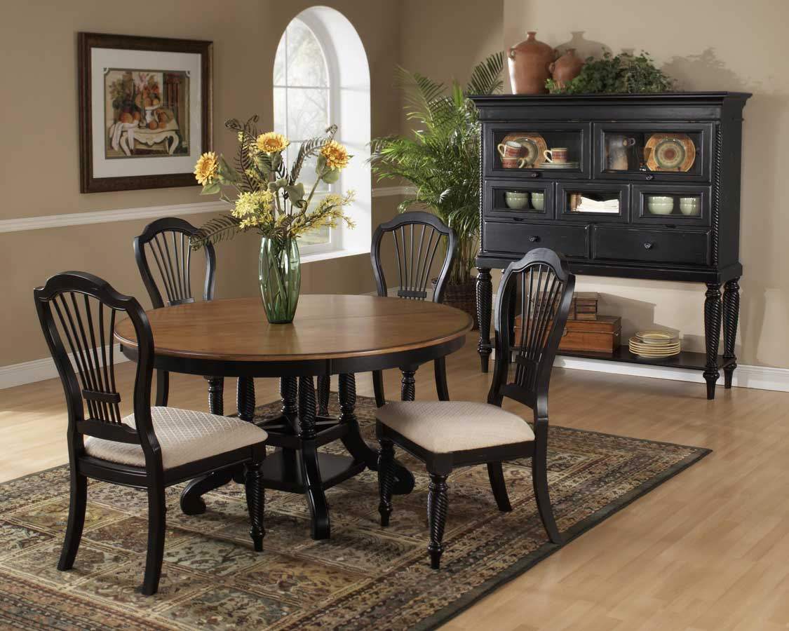 hillsdale wilshire round oval dining table rubbed black 4509 816 817