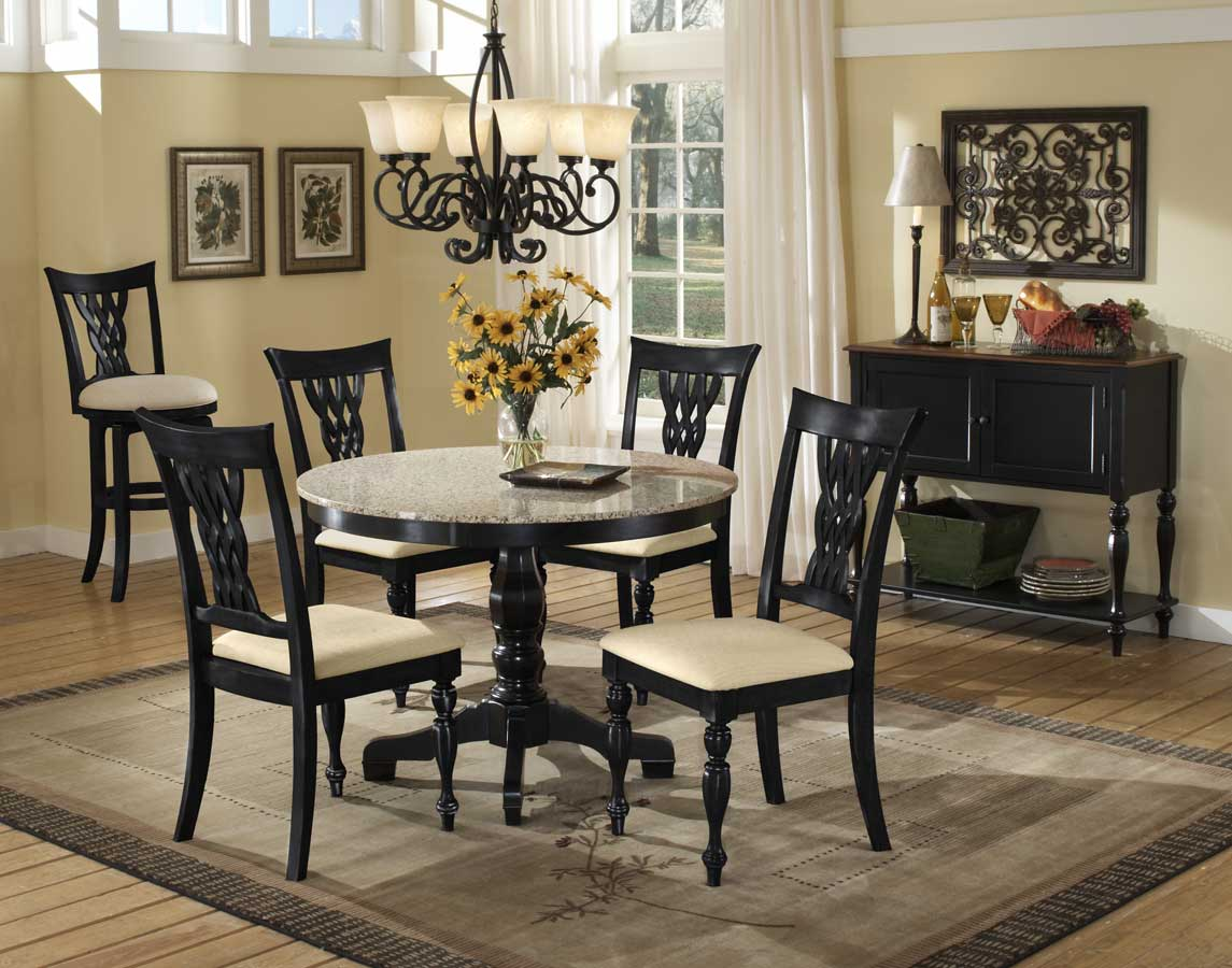 Hillsdale Embassy Round Pedestal Table With Granite Top 4808 810 11