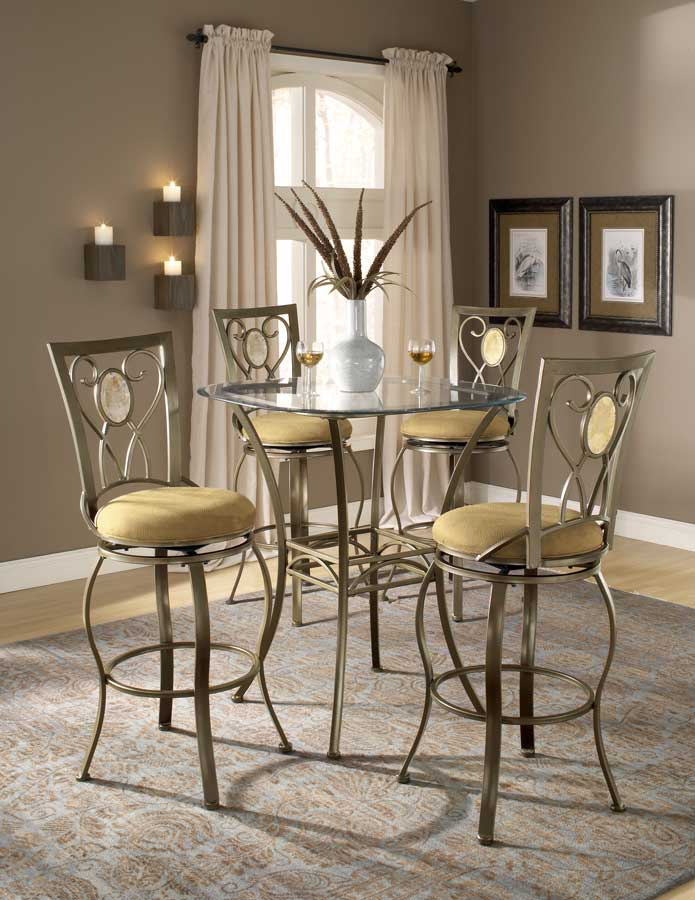 Hillsdale Brookside Bar Height Bistro Dining Collection Oval Back