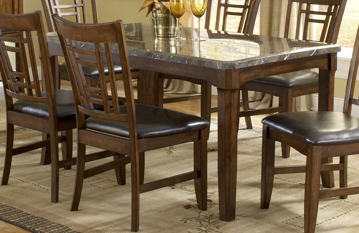 Hillsdale patterson rectangle marble top dining table 4078 for Marble top dining table