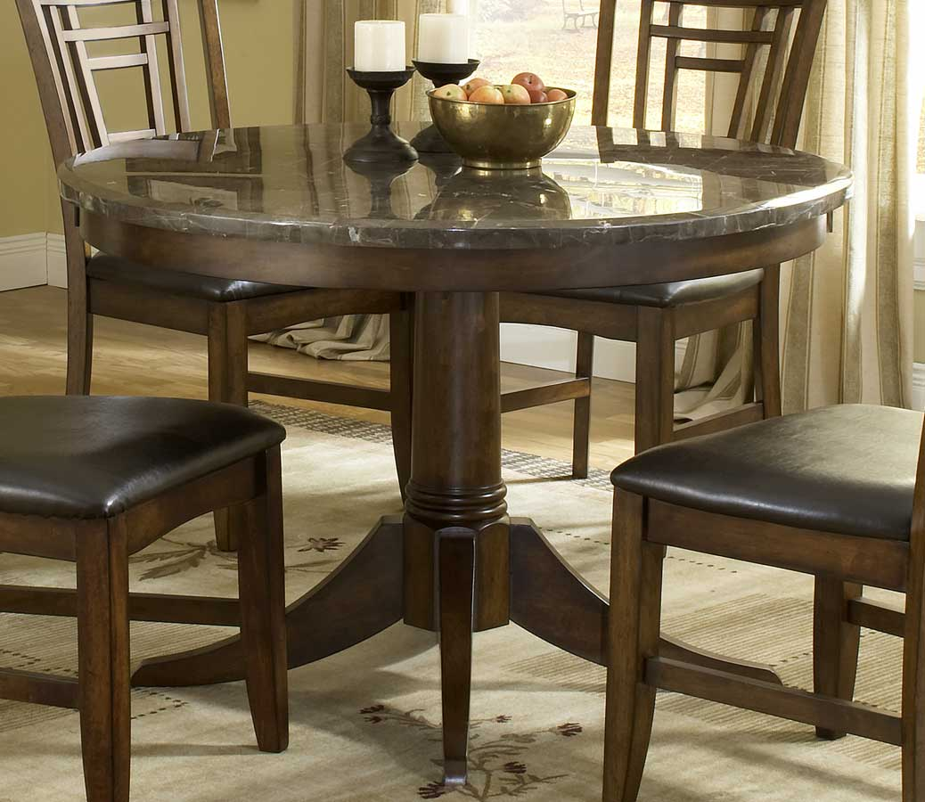 Hillsdale Patterson Round Marble Pedestal Dining Table 4078DTBRND