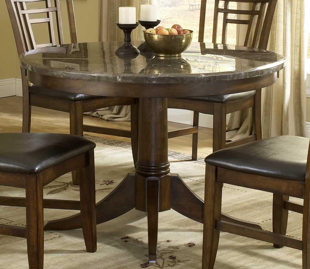 hillsdale patterson round marble pedestal dining table 4078dtbrnd. Black Bedroom Furniture Sets. Home Design Ideas