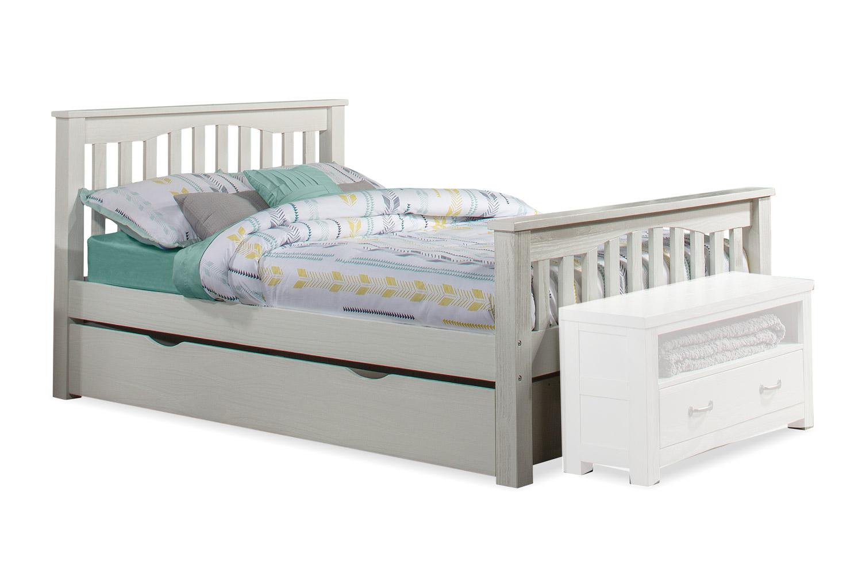 NE Kids Highlands Harper Bed with Trundle - White