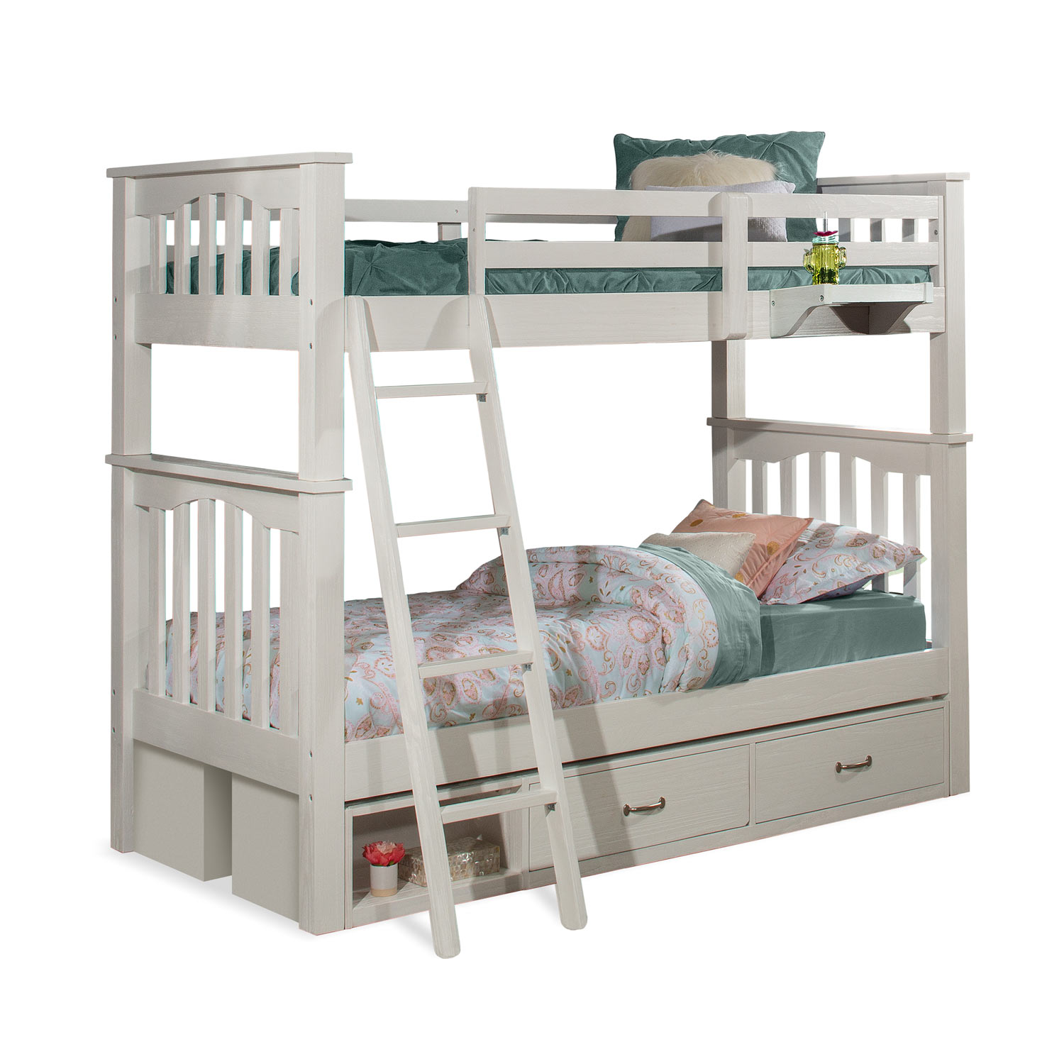 NE Kids Highlands Harper Twin/Twin Bunk Bed with (2) Storage Units and Hanging Nightstand - White Finish