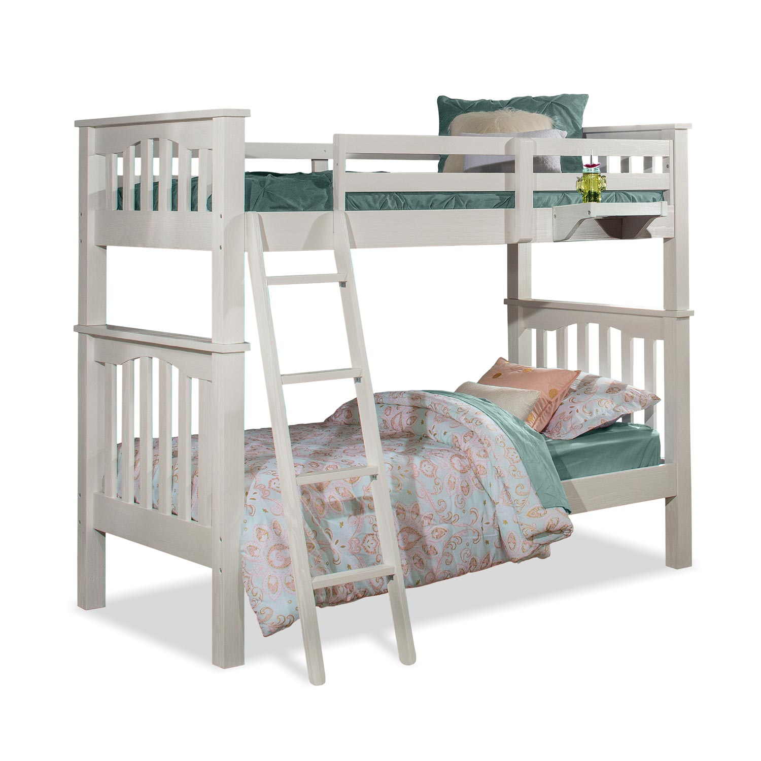 NE Kids Highlands Harper Twin/Twin Bunk Bed with Hanging Nightstand - White Finish
