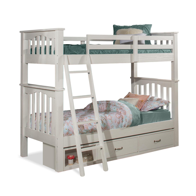 NE Kids Highlands Harper Twin/Twin Bunk Bed with Storage Unit - White Finish