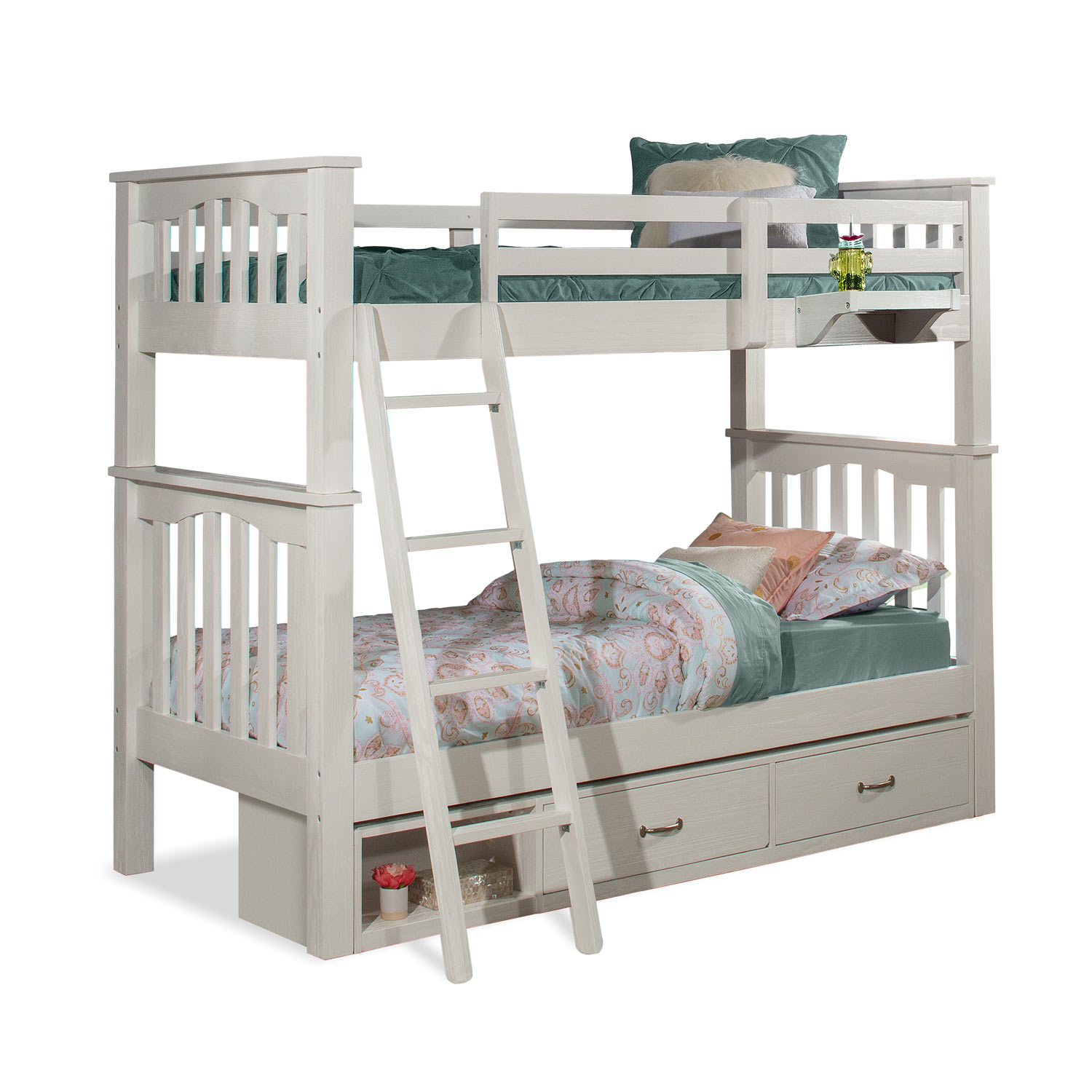 NE Kids Highlands Harper Twin/Twin Bunk Bed with Storage Unit and Hanging Nightstand - White Finish