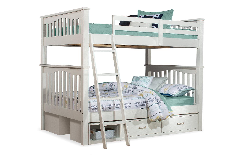 NE Kids Highlands Harper Full/Full Bunk Bed with (2) Storage Units - White Finish