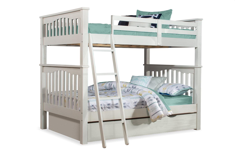 NE Kids Highlands Harper Full/Full Bunk Bed with Trundle - White Finish