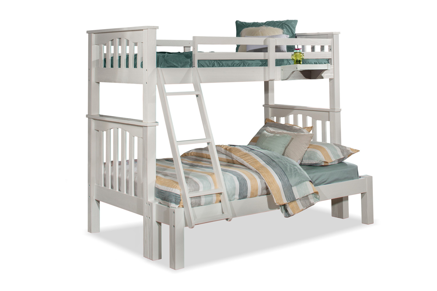 NE Kids Highlands Harper Twin/Full Bunk Bed and Hanging Nightstand - White Finish