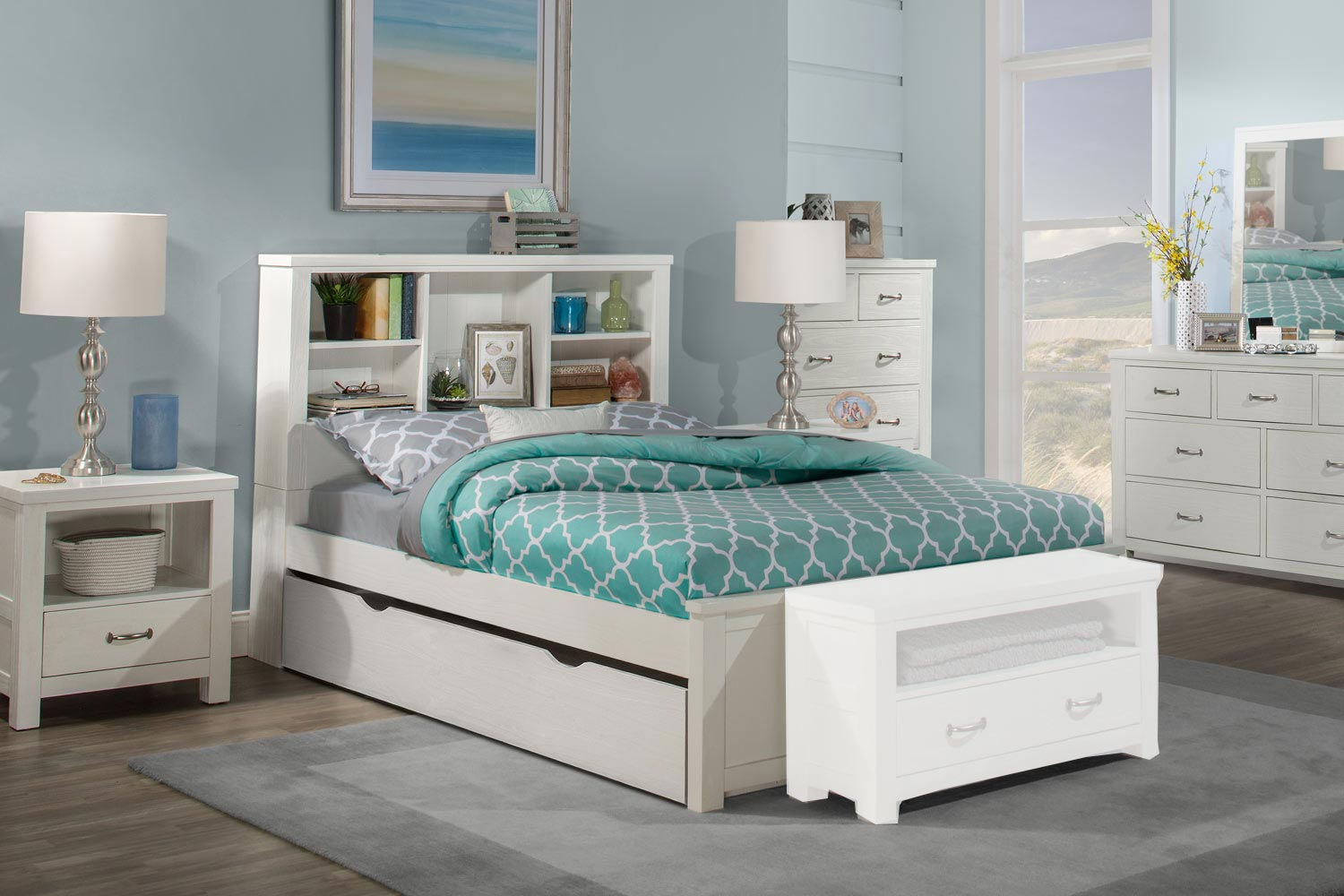 NE Kids Highlands Bookcase Bedroom Set with Trundle - White