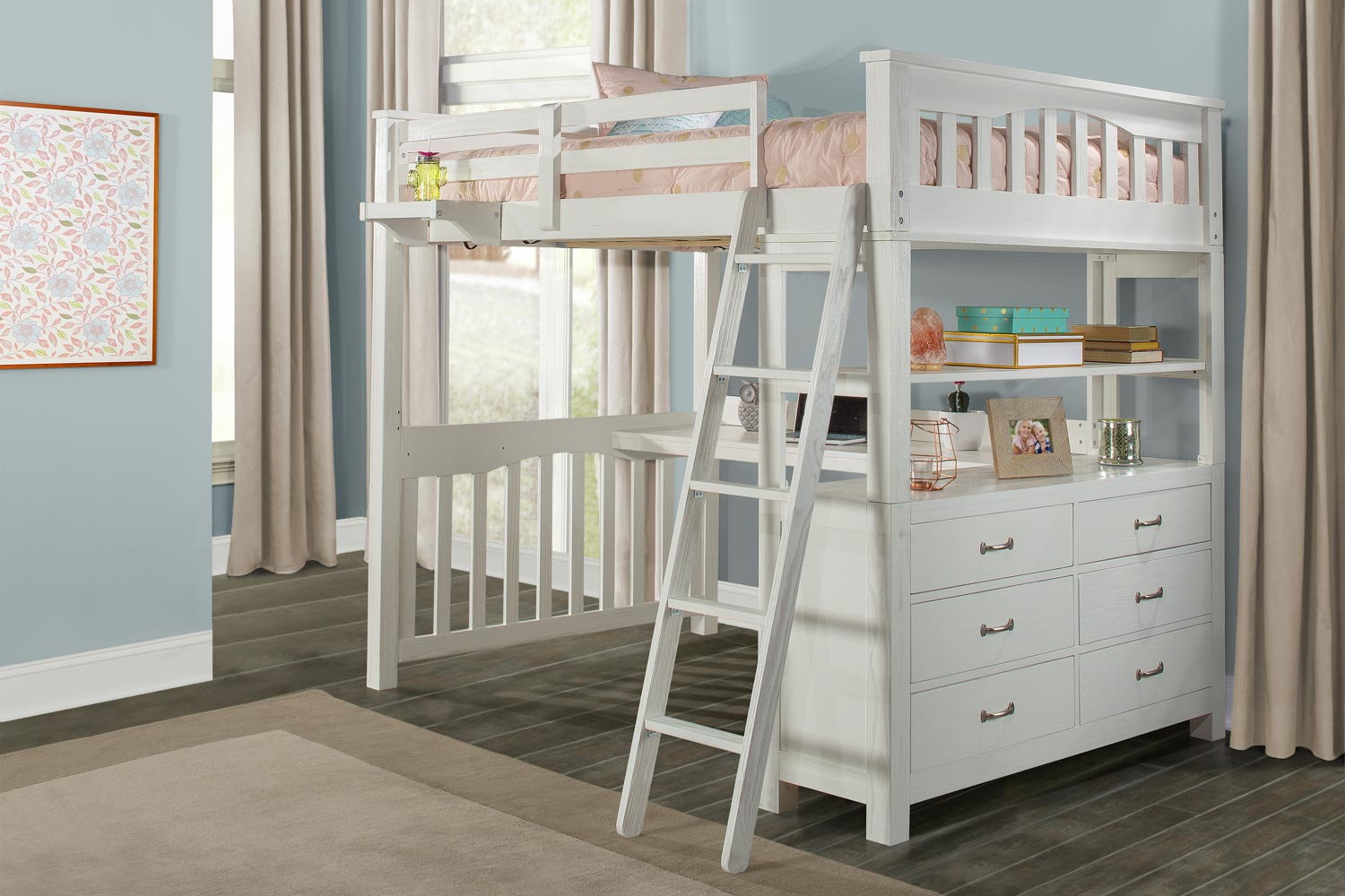 NE Kids Highlands Loft Bed with Desk and Hanging Nightstand - White