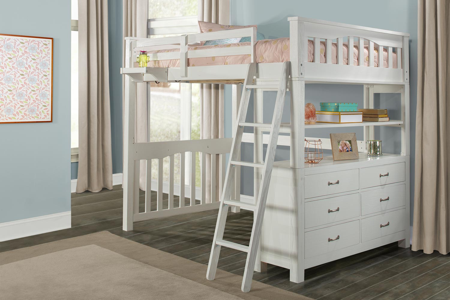 NE Kids Highlands Loft Bed with Hanging Nightstand - White