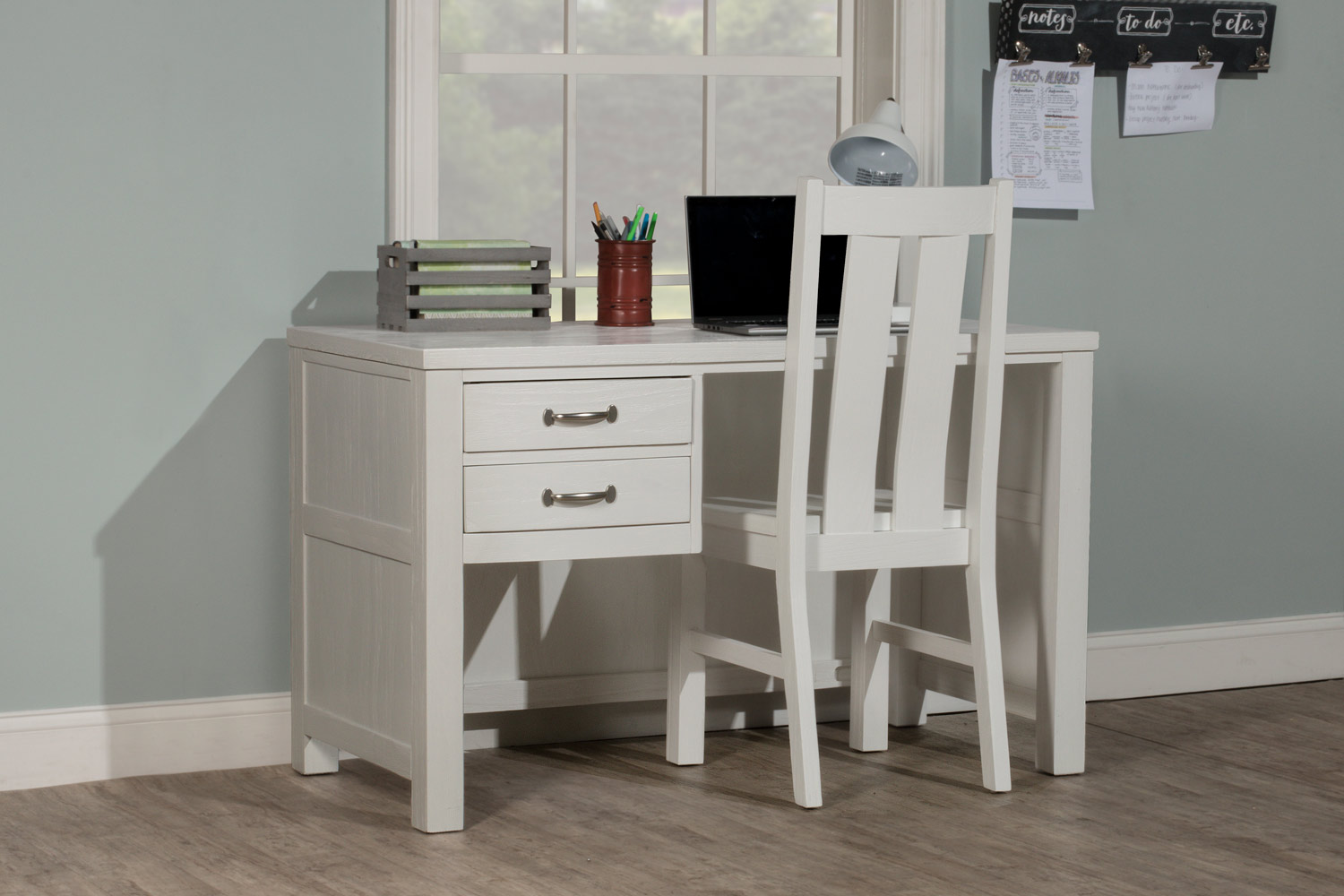 NE Kids Highlands Desk with Chair - White Finish