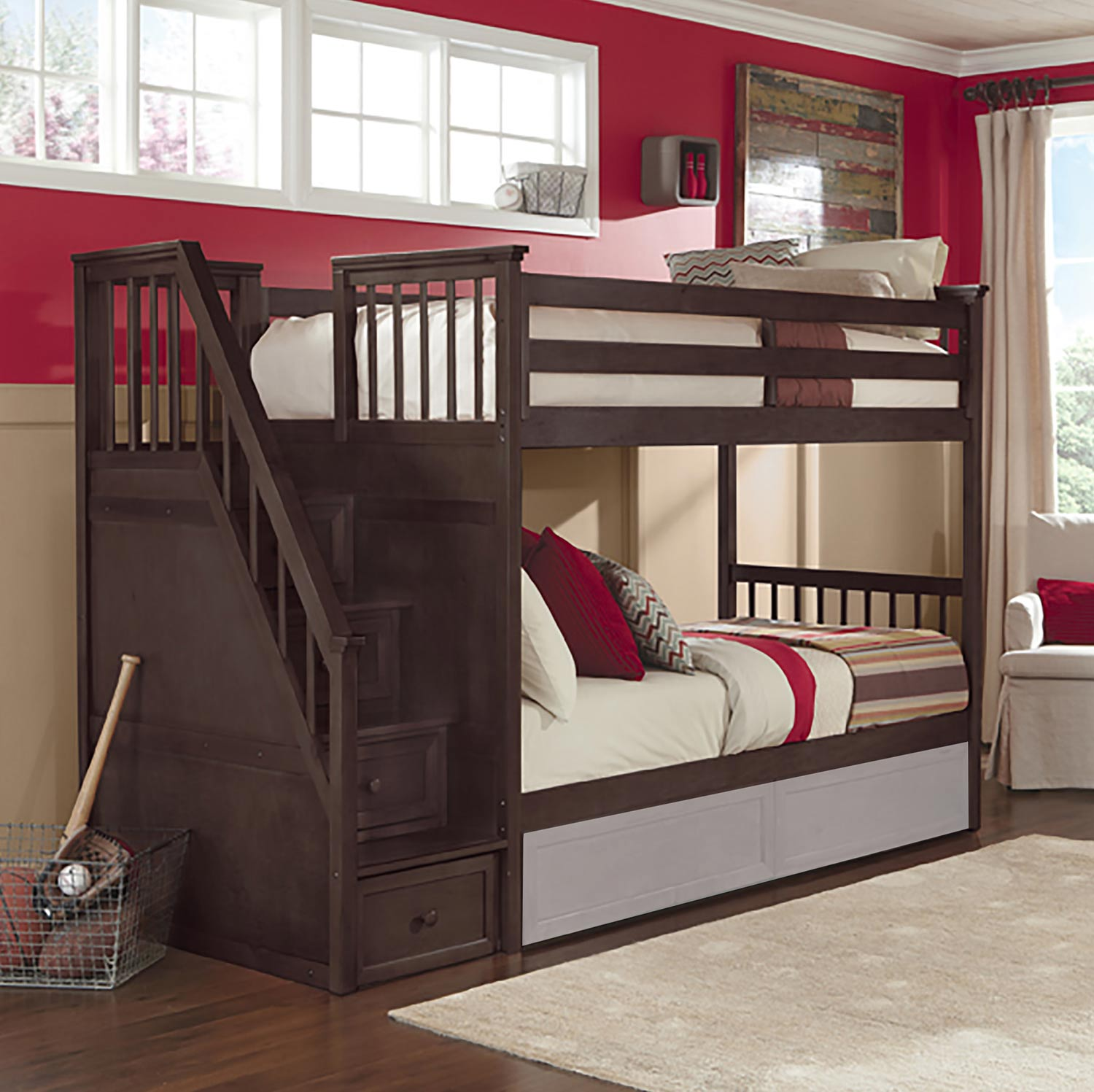 NE Kids SchoolHouse Stair Bunk Bed - Chocolate Finish